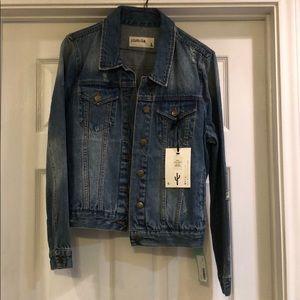 NWT Pistols distressed denim jacket size Large